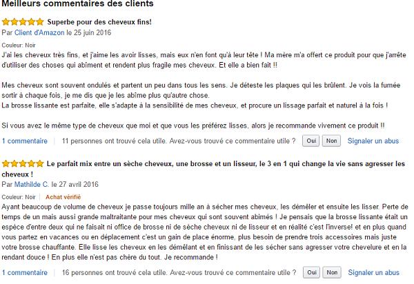 commentaire sur la brosse lissante chauffante madame paris sur Amazon