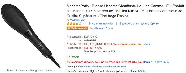 brosse lissante chauffante Madame Paris Miracle meilleur rapport qualité prix
